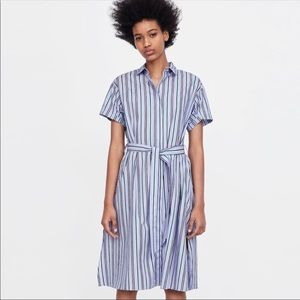 Zara l Striped Shirt Dress Belted